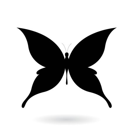 Illustration of a Black Butterfly Silhouettey isolated on a white background