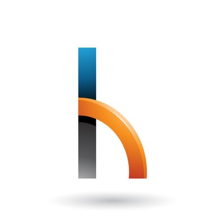 Illustration of Black and Orange Letter H with a Glossy Quarter Circle isolated on a White Background