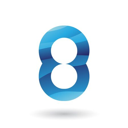 Illustration of a Blue Round Icon for Number 8 isolated on a White Background Фото со стока