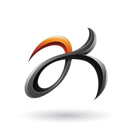 Illustration of Black and Orange Curly Fish Tail Like Letters A and K isolated on a White Background