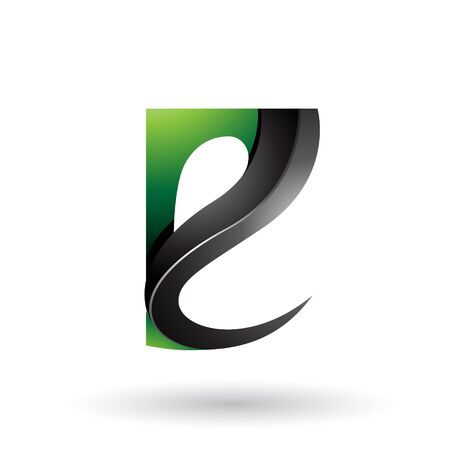 Illustration of Green and Black Glossy Curvy Embossed Letter E isolated on a White Background Stock fotó