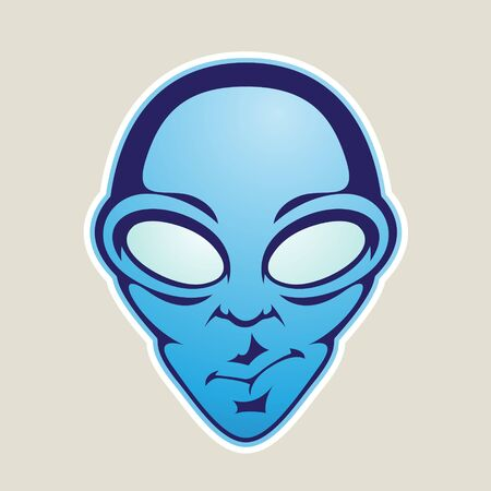 Illustration of Blue Alien Head Cartoon Icon isolated on a White Background Imagens