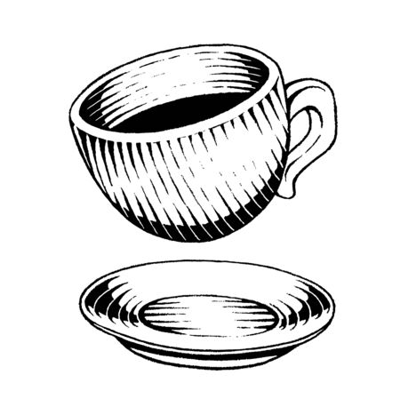 Illustration of a Scratchboard Style Ink Drawing of a Coffee Cup Фото со стока - 129909345
