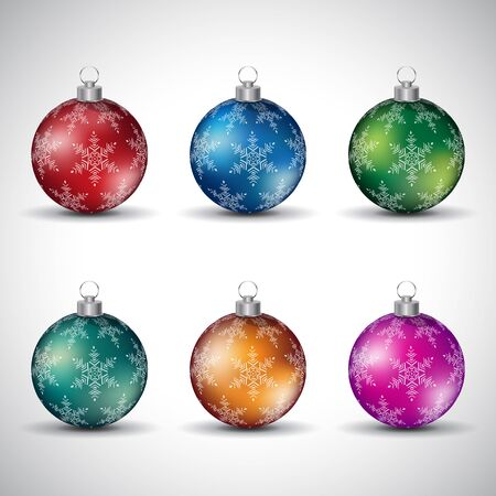 Illustration of Colorful Glossy Christmas Balls with Snowflake Design Style 4 isolated on a White Background