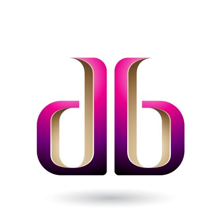 Illustration of Beige and Magenta Double Sided D and B Letters isolated on a White Background