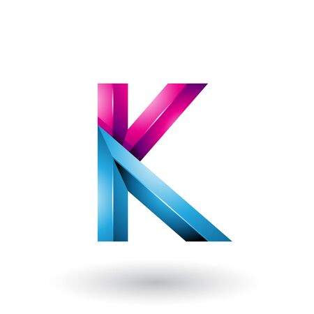 Illustration of Blue and Magenta Glossy 3d Geometrical Letter K isolated on a White Background Stock fotó