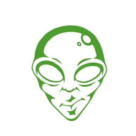 Illustration of Green Ink Sketch of Alien Face isolated on a White Background