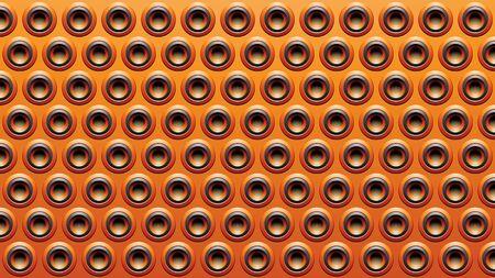 Illustration of Black and Orange Embossed Round Loudspeaker Background Stockfoto - 129951041