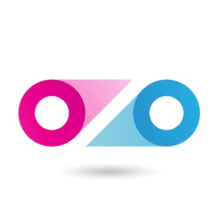 Illustration of Magenta and Blue Double Letter O isolated on a White Background