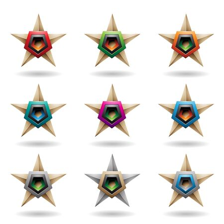 Illustration of Beige Embossed Stars with Colorful Pentagon Shapes isolated on a White Background Stockfoto