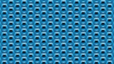 Illustration of Blue Embossed Hexagon Background Stockfoto - 129951342