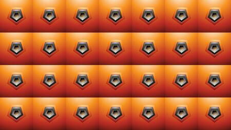 Illustration of Embossed Pentagon Shapes on Orange Squares Background Stockfoto - 129951624