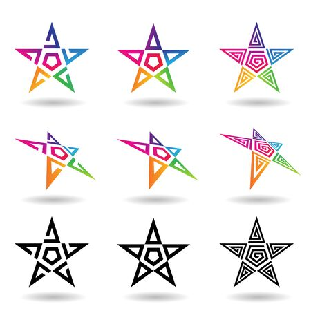 Illustration of Black and Rainbow Colored Stars with Swirly Shapes isolated on a White Background Stockfoto - 129951623