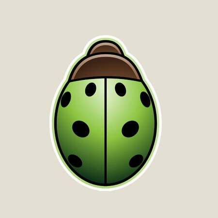 Illustration of Green Cartoon Ladybug Icon isolated on a White Background Zdjęcie Seryjne
