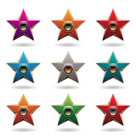 Illustration of Colorful Embossed Stars with Hexagon Shaped Loudspeakers isolated on a White Background Stockfoto