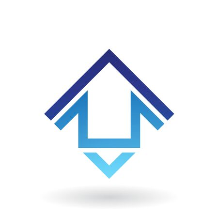 Illustration of Abstract Square Shaped House Icon isolated on a white background