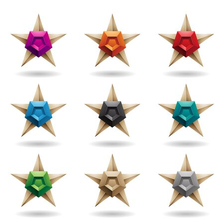 Illustration of Embossed Stars with Colorful Pentagon Shapes isolated on a White Background