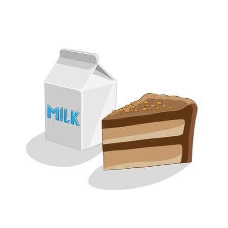 Illustration of Chocolate Cake and Milk Breakfast isolated on a white background Imagens