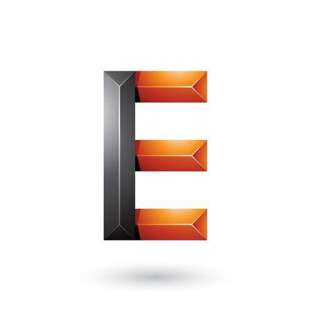 Ilustración de la pirámide negra y naranja geométrica como la letra E aislado sobre un fondo blanco.