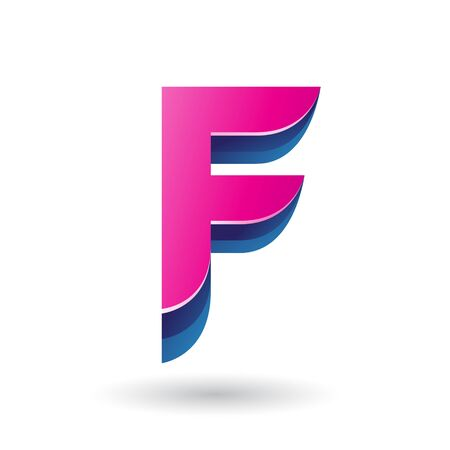 Illustration of a Layered 3d Magenta Icon for Letter F isolated on a White Background Stok Fotoğraf