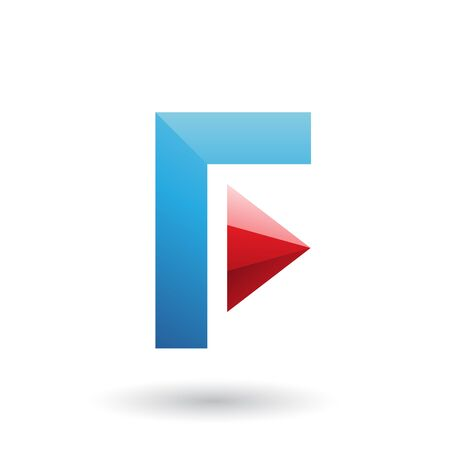 Illustration of a Blue Icon of Letter F with a Triangle isolated on a White Background