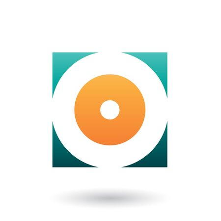Illustration of Green and Orange Square Icon of a Thick Letter O isolated on a White Background Stok Fotoğraf