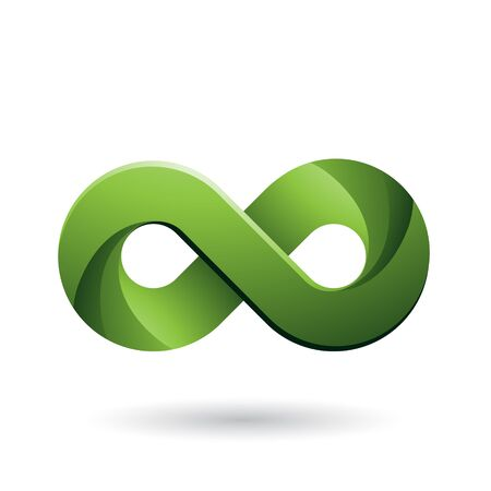 Illustration of Infinity Symbol with Green Color Tints isolated on a White Background