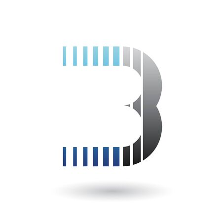 Illustration of a Blue and Black Letter B Icon with Vertical Stripes isolated on a White Background Stok Fotoğraf