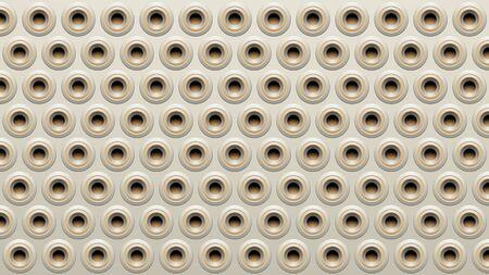 Illustration of Beige and Grey Embossed Round Loudspeaker Background Stockfoto - 129953507