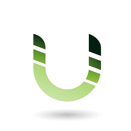 Illustration of Green Striped Bold Icon for Letter U isolated on a White Background