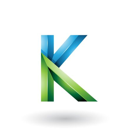 Illustration of Blue and Green Glossy 3d Geometrical Letter K isolated on a White Background Imagens