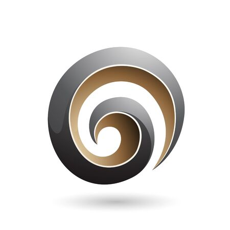 Illustration of Black and Beige 3d Glossy Swirl Shape isolated on a white background Stok Fotoğraf