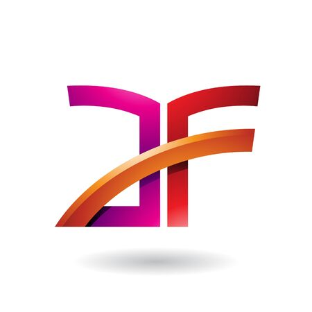 Illustration of Magenta and Red Dual Letter Icon of A and F isolated on a White Background Stok Fotoğraf