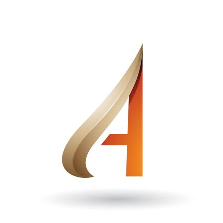Illustration of Beige and Orange Embossed Arrow-like Letter A isolated on a White Background
