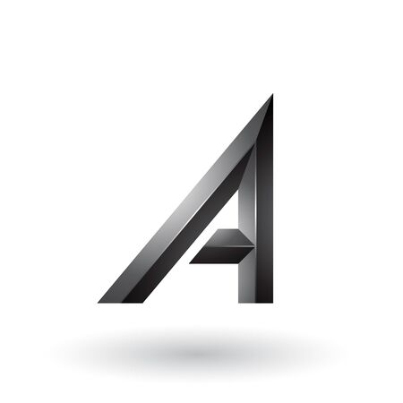 Illustration of Black Bold and Curvy Geometrical Letter A isolated on a White Background