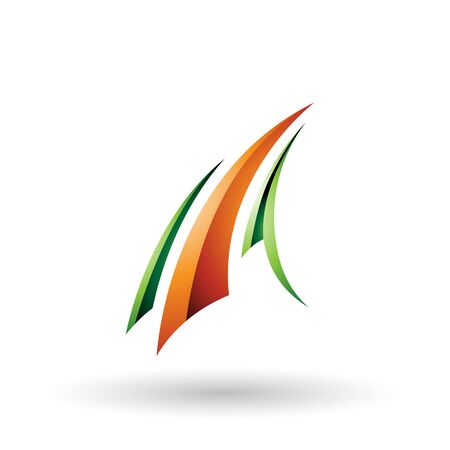 Illustration of Green and Orange Glossy Flying Letter A isolated on a White Background