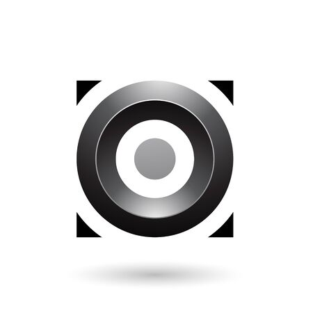 Illustration of Black Glossy Circle in a Square isolated on a white background Stok Fotoğraf