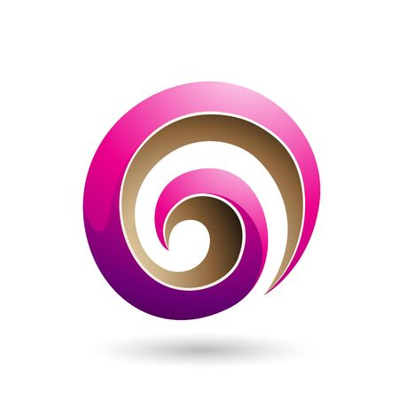 Illustration of Magenta and Beige 3d Glossy Swirl Shape isolated on a white background Stok Fotoğraf