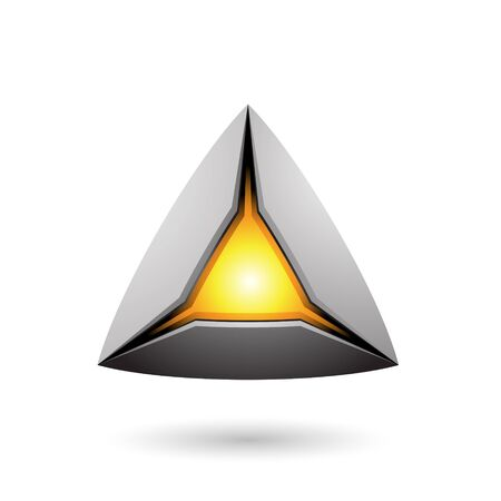 Illustration of Grey Pyramid with a Glowing Core isolated on a white background