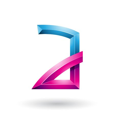 Illustration of Blue and Magenta Embossed Letter A with Bended Joints isolated on a White Background