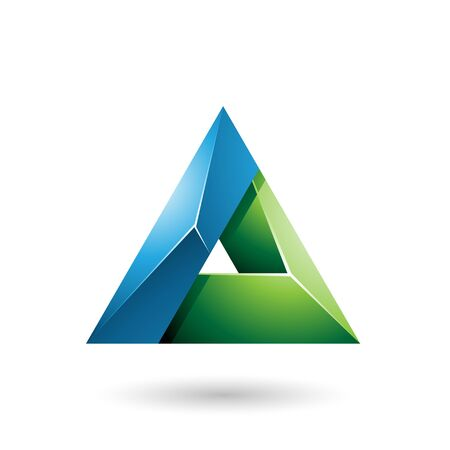 Illustration of Blue and Green 3d Glossy Triangle with a Hole isolated on a white background Stok Fotoğraf