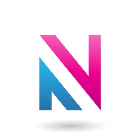 Illustration of Magenta and Blue V Shaped Icon for Letter N isolated on a White Background Stok Fotoğraf