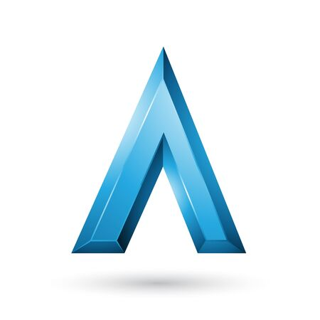 Illustration of Blue Glossy Geometrical Letter A isolated on a White Background Stok Fotoğraf