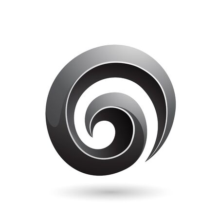 Illustration of Black 3d Glossy Swirl Shape isolated on a white background Stok Fotoğraf