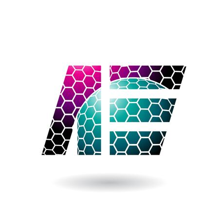 Illustration of Magenta and Green Dual Letters of A and E with Honeycomb Pattern isolated on a White Background