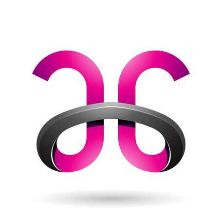 Illustration of Magenta and Black Bold Curvy Letters A and G isolated on a White Background Stok Fotoğraf