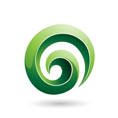 Illustration of Green 3d Glossy Swirl Shape isolated on a white background