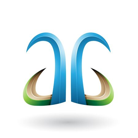 Illustration of Blue and Green 3d Horn Like Letter A and G isolated on a White Background Stok Fotoğraf