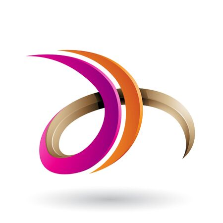 Illustration of Magenta and Orange 3d Curly Letter D and H isolated on a White Background Stok Fotoğraf