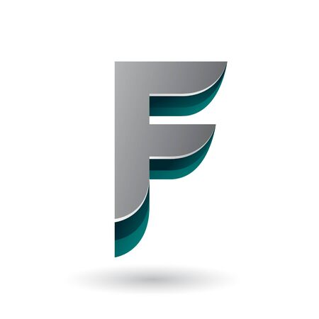 Illustration of a Layered 3d Grey Icon for Letter F isolated on a White Background